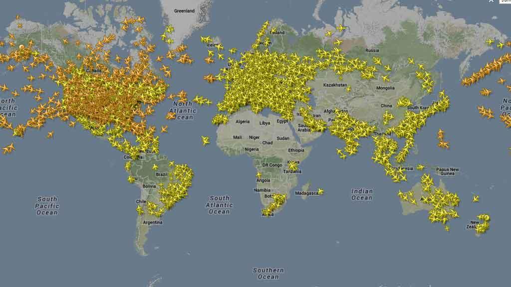 Increíble Mapa En Tiempo Real Del Tráfico Aéreo Tn